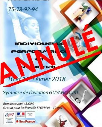 ANNULATION COMPETITION GAF GUYANCOURT 10/11 FEVRIER 2018