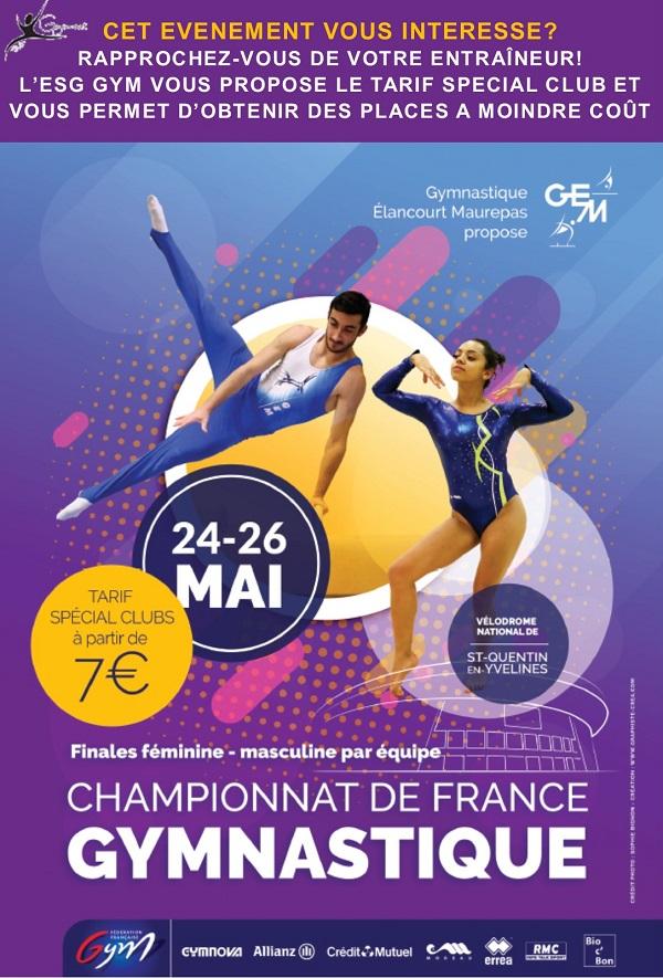 Championnat de France Gymnastique Artistique du 24 au 26 mai 2019