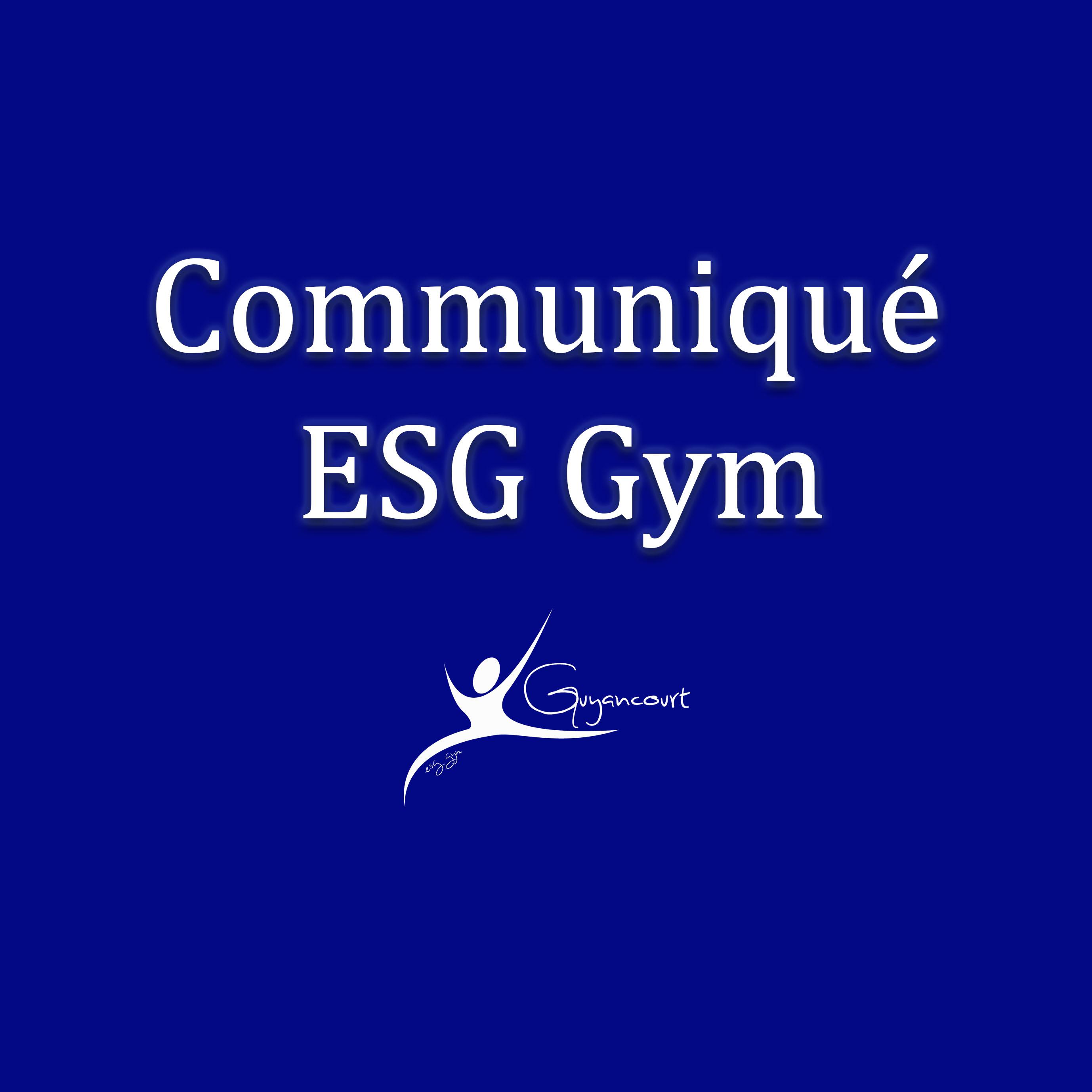 Communiqué ESG Gym - Point de situation Covid-19